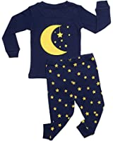 "Leveret Boys Girls ""Moon & Stars"" 2 Piece Pajama 100% Cotton (6M-14 Years)"