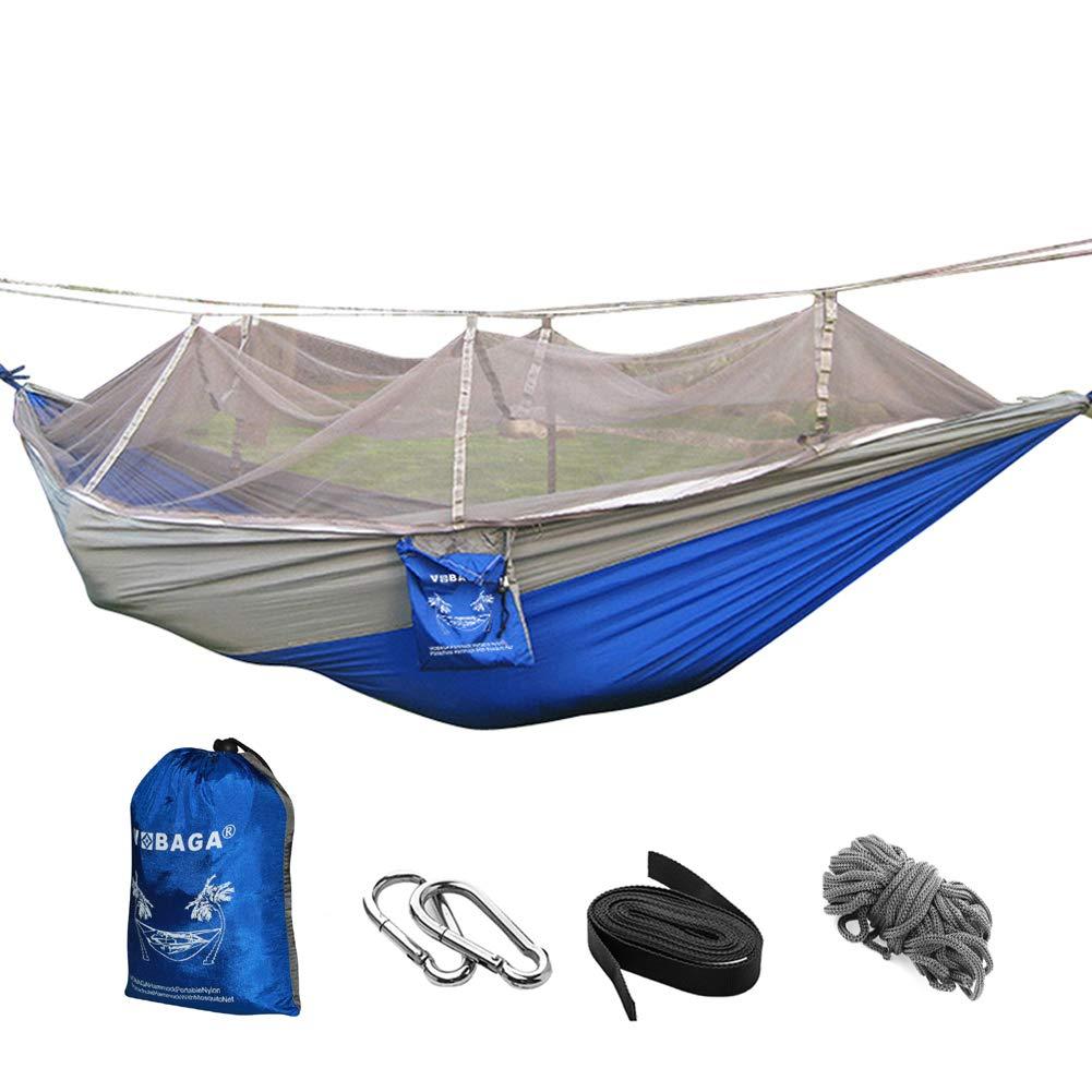 VOBAGA Hängematte leichte Tragbare Nylon Fallschirm Hängematte für Camping Reisen Strand Hof Innen-oder Outdoor-Einsatz mit Moskitonetz LL032-2