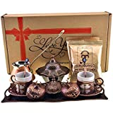 Demmex CopperBull 2018 Turkish Greek Arabic Coffee Set with Pot Cups Tray & Coffee, 16 Pieces (Antique Brown Set with Hammered Pot)