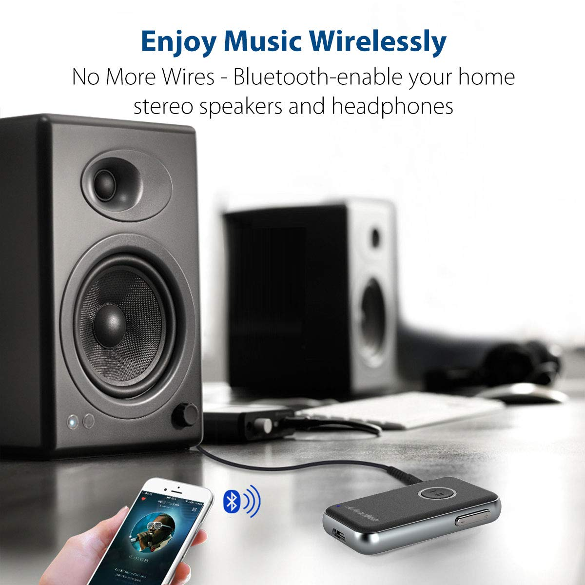 Speaker 2 Year Warranty Hands-free Car Kit Portable Wireless Audio Adapter 3.5mm Aux for Music Streaming Stereo System Avantree V4.1 Bluetooth Receiver For Car and Home Audio Headphones