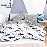 Black and White Duvet Covers ORoa Cute Kids Students Bedding Set 3 Pieces Reversible Cartoon Shark Fish Striped Pattern Duvet Cover for Boys White Black 100% Cotton Twin Size
