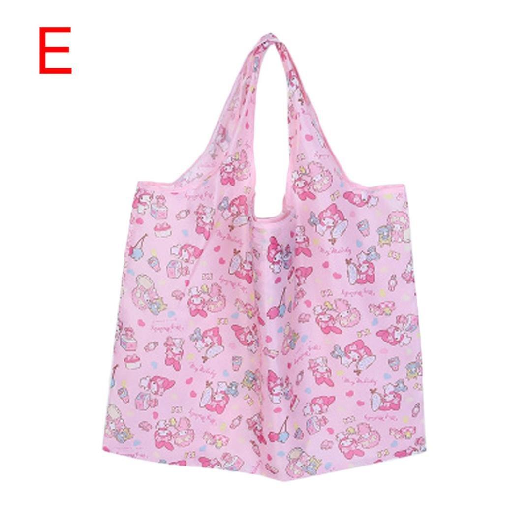 Fashion Womens Cartoon Printed Folding Shopping Tote Bag Handbags Travel Shoulder Bags Inkach Reusable Grocery Bags