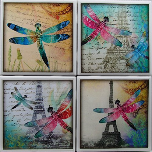 Coaster Dragonfly Tile - Ceramic Tile Coasters - Dragonfly - Set of 4 - Custom Made To Order - Check out more designs by typing in - Made Perfect Coaster Company - We Carry Personalized Stone & Monogram Coasters