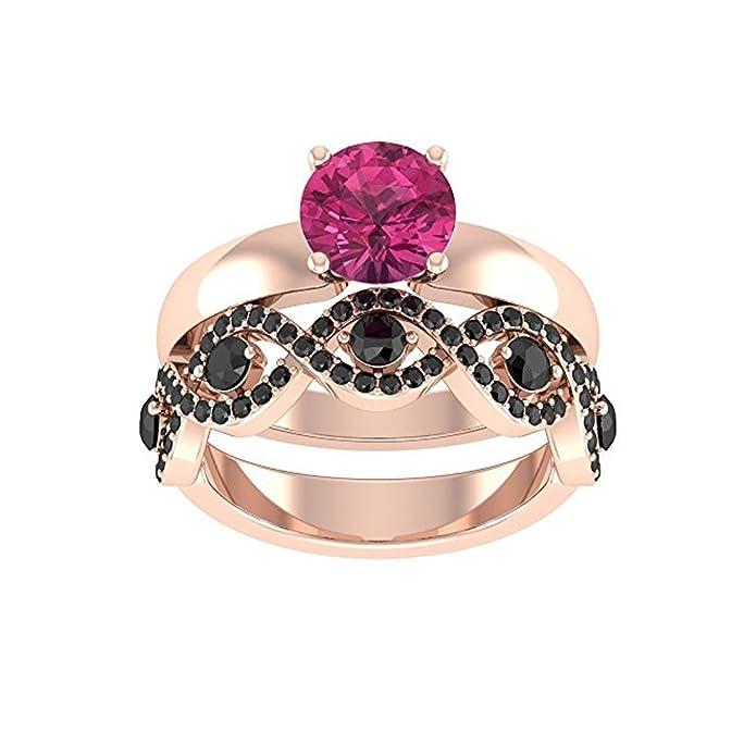 Mejor compromiso anillos de boda en 3,20 ct rosa Zirconia cúbico corte redondo cristal montado en el centro con pequeñas piedras de cz en 10 K oro rosa.