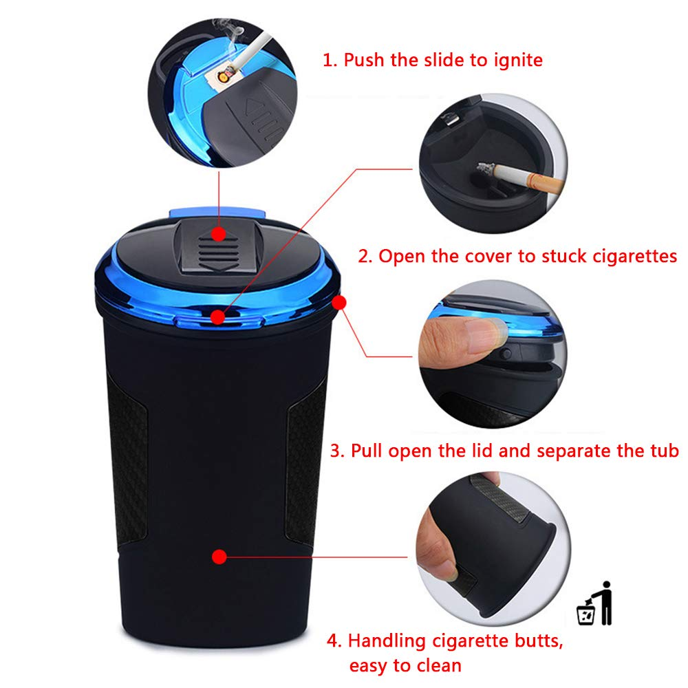 Black Orange LUDASI Car/Ashtray,Easy/Clean/Up/Portable/Car/Ashtray/with/Lid/Blue/LED/Light/for/Most/Car/Cup/Holder