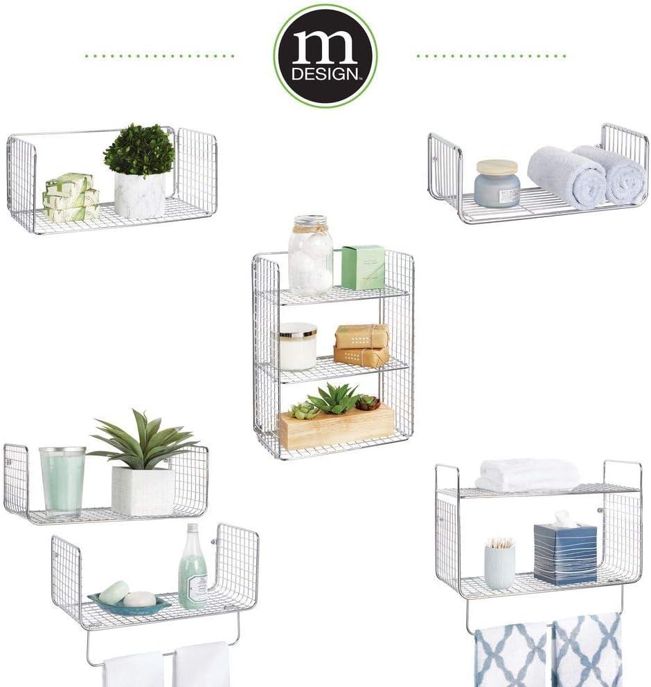 Garage oder Waschk/üche grau zweiteiliges Set mit Handtuchstange vielseitig verwendbares Metallregal f/ür Badezimmer mDesign Wandregal
