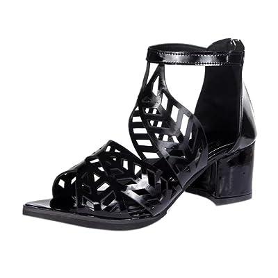 e2e6914ac468 Kolylong 2018 Femmes Sandales d'été Printemps Dames Cuir Souple Wedge  Sandales de Loisirs Dames Mode Bouche Creux Roman Chaussures à Talons  Moyens épais