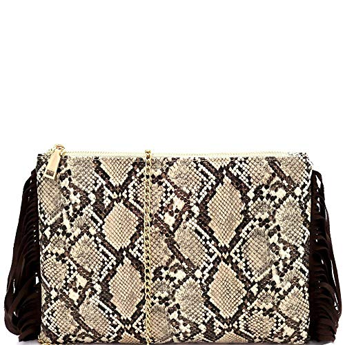 Fringed Side Snake Print Simple PU Leather Flat Clutch Shoulder Bag with Chain
