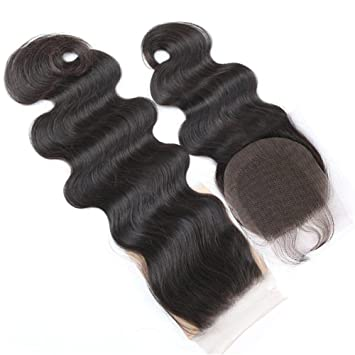 Boby Wave 4x4 Free Part Lace Closure with Baby Hair Natural Black Brazilian  Virgin Human Hair