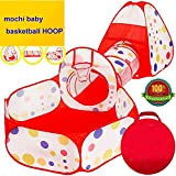 Mochi Baby Polka Dot 3-in-1 Folding Kids Play Tent with Tunnel, Ball Pit and Zippered Storage Bag