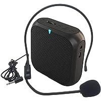 Riiai amplificador de voz con micrófono con cable, mini altavoz portátil megáfono con radio FM, juego de tarjetas TF…