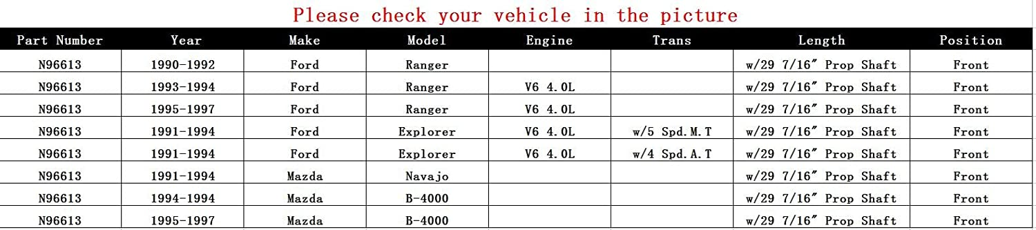Mazda Navajo/B-4000 for Ford Ranger/Explorer Front about 29 7/16 ...