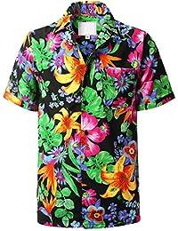 URBANCREWS Mens Hipster Hip Hop Short Sleeve Hawaiian Shirts (Various Styles)