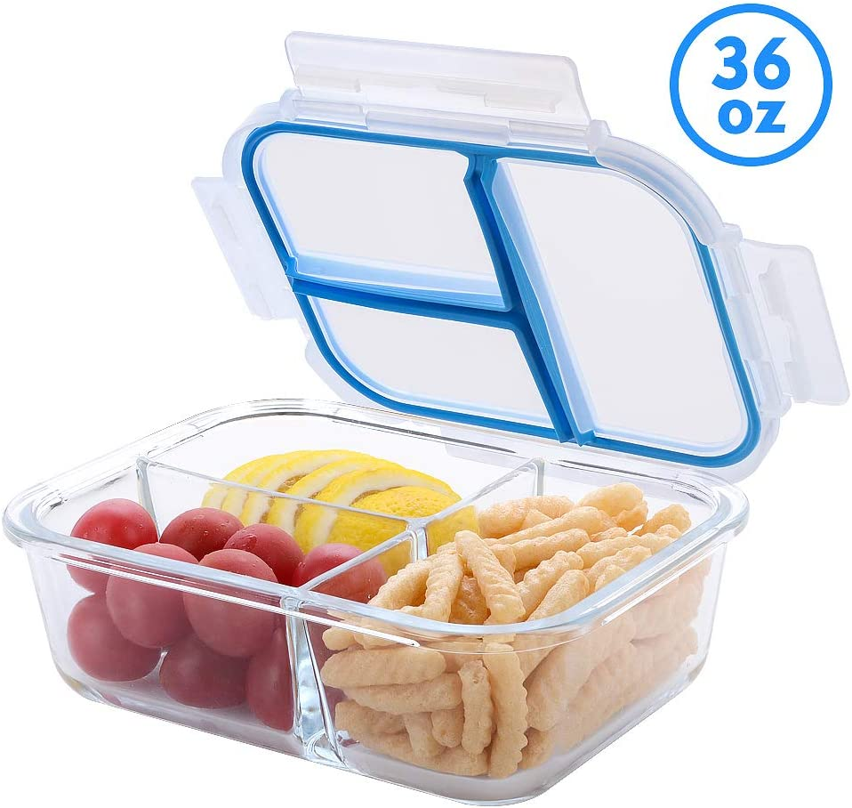 Glass Lunch Containers 3 Compartment TIME4DEALS 1 Pack 36 Oz Independent Seal Leak Proof BPA-Free Lunch Bento Box For Adult Lunch Snack Meal Prep Container For Office Outdoor Microwave Dishwasher Safe