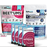 "PureClean Performance - 2 Pack (15 packets = 30), Beet root ""superfood"", PLUS Beet'Ums - beet infused Chocolate Pomegranate Performance Chews & FundAminos - BAG (300G), essential amino acid powder"