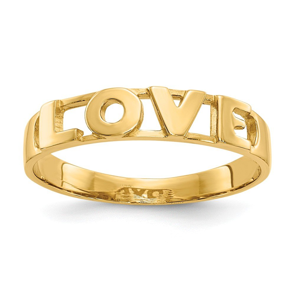 14k Yellow Gold Love Ring Size 6