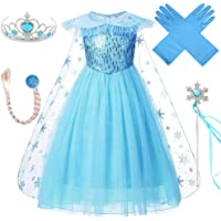 VanStar Snow Queen Costumes,Dress Girls Party Cosplay Girl Clothing Snow Queen Birthday Princess Dress Kids Costume Blue…