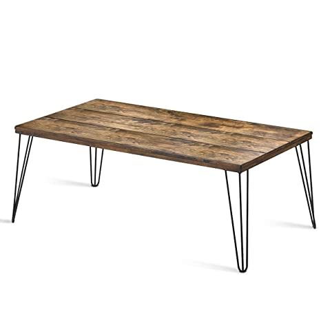 Superb Giantex Rustic Coffee Table With Wooden Top And Metal Legs Large Sofa Table Painted With Spray Paint Wooden Table With Big Surface For Living Room Gmtry Best Dining Table And Chair Ideas Images Gmtryco