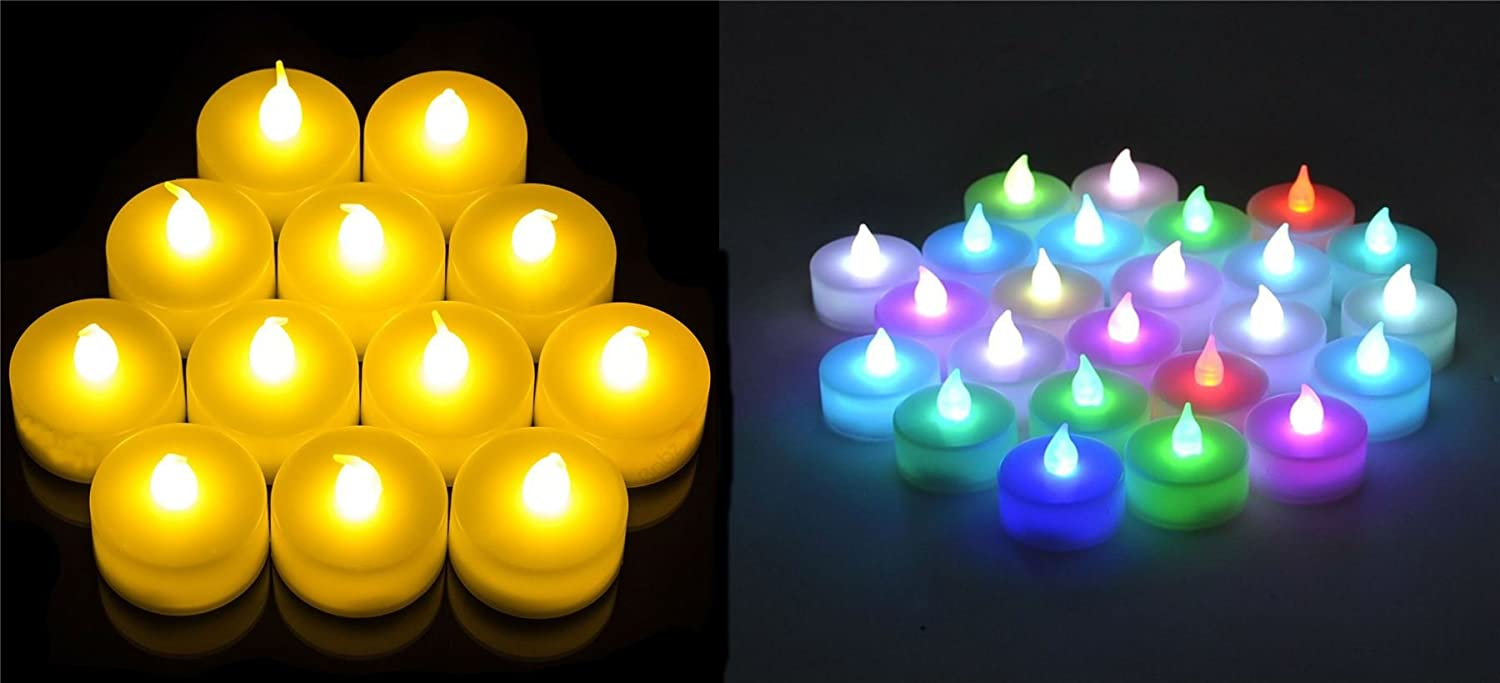 1x12 x24 x36 x48 x60 LED Flickering Battery Operated Tea Light Candle Tealight[1,Colour Changing] SHINE UMBRELLA LIMITED
