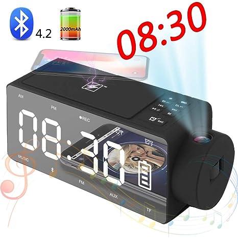 SHENGY Proyector con Despertador, Altavoz Bluetooth con Carga ...