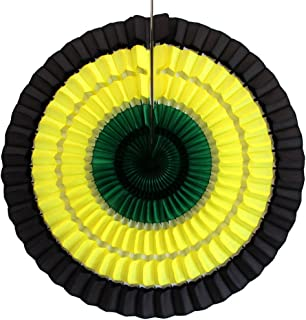 product image for Devra Party 6-Pack Jamaican Striped Black/Yellow/Green Tissue Paper Fan