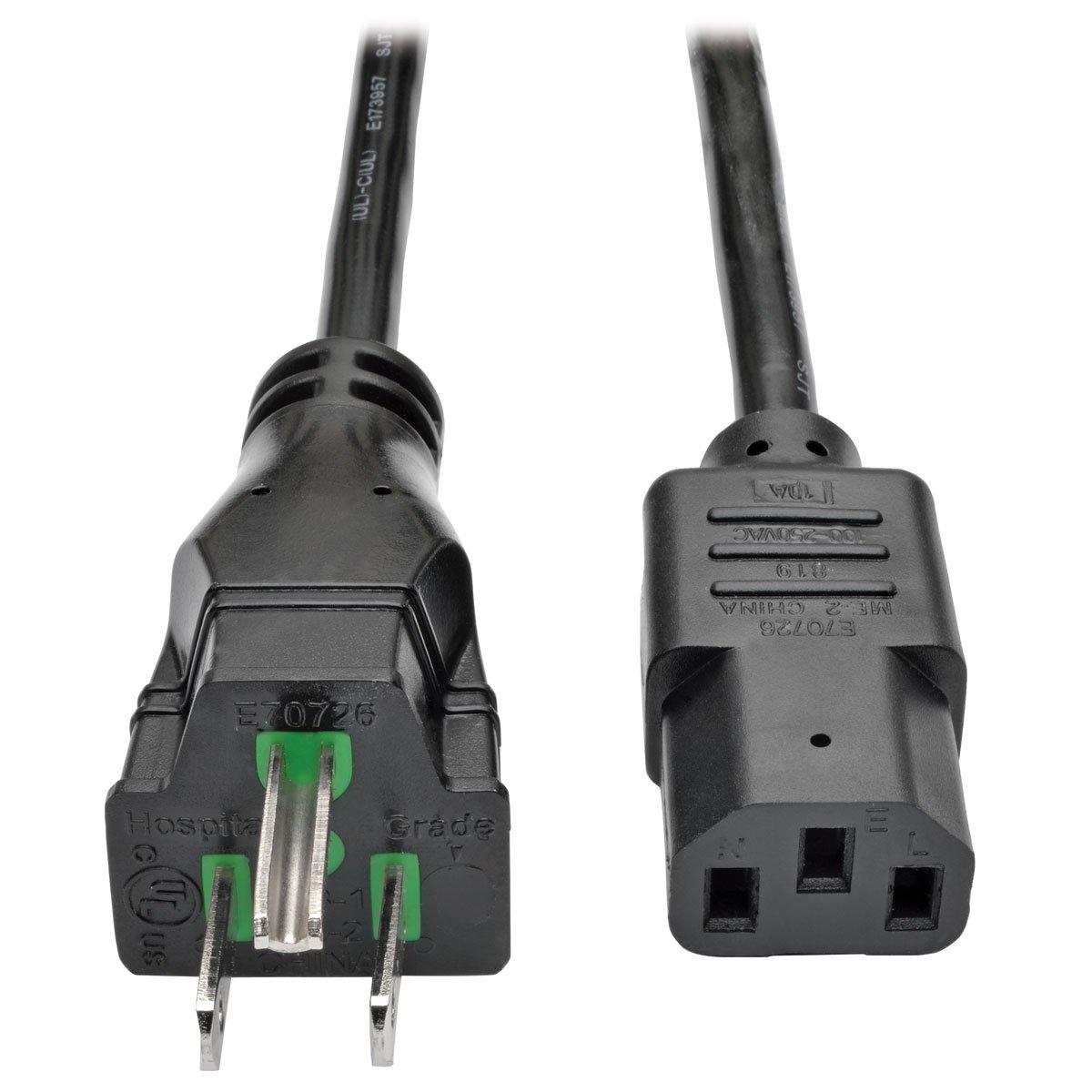 Tripp Lite Hospital-Grade Computer Power Cord, 15A, 14 AWG (NEMA 5-15P to IEC-320-C13), 25 ft. (P006-025-HG15)