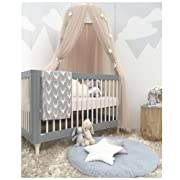 Dome Bed Mesh Canopy Fancy Gauze Curtain Fairy Tale Fantasy Dream Princess Castle Mosquito Net Sleeping Playing Reading Tent House Baby Kids Room Lace Decoration (BEIGE)