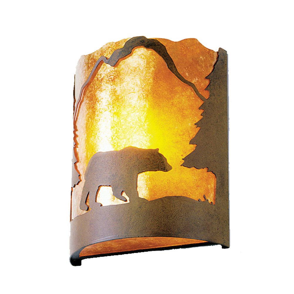 Steel Partners Lighting 2378-10-R BEAR Timber Ridge Sconce with Amber Mica Lens, Rust Finish