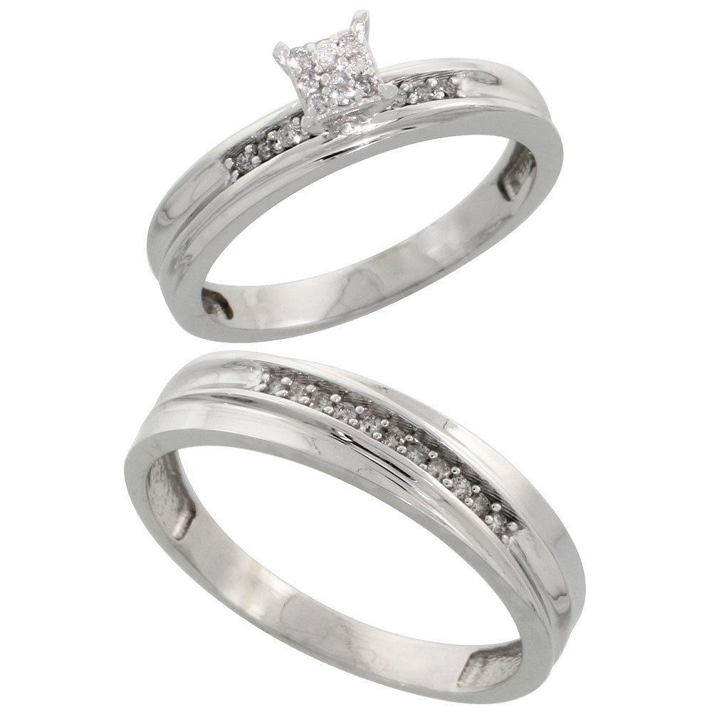 Sterling Silver 2-Piece Diamond Engagement Ring Set for Him and Her Rhodium finish, 3.5 & 4mm, Size 8