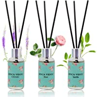binca vidou Reed Diffuser Set of 3, Lavender Rose Vanilla Oil Reed Diffusers for Bedroom Living Room Office Aromatherapy Oil Reed Diffuser for Gift & Stress Relief 30ml x 3