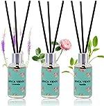 binca vidou Reed Diffuser Set of 3, Lavender Rose Vanilla Oil