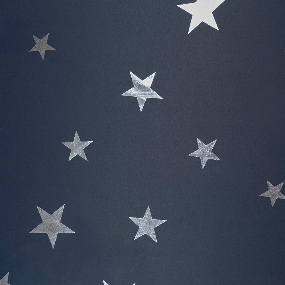 PANOVOUS Kids Blackout Curtains for Girls Foil Printed Star Curtains for Bedroom Thermal Blackout Nursery Curtains Black 2 Panels 52 x 54 inch