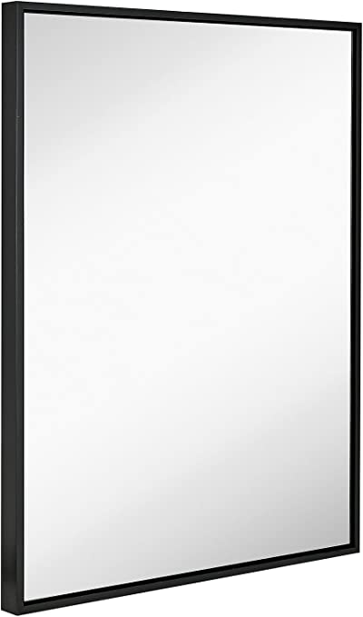 Amazon Com Hamilton Hills Clean Large Modern Black Frame Wall Mirror 30 X 40 Contemporary Premium Silver Backed Floating Glass Panel Vanity Bedroom Or Bathroom Mirrored Rectangle Hangs Horizontal Or Vertical Home