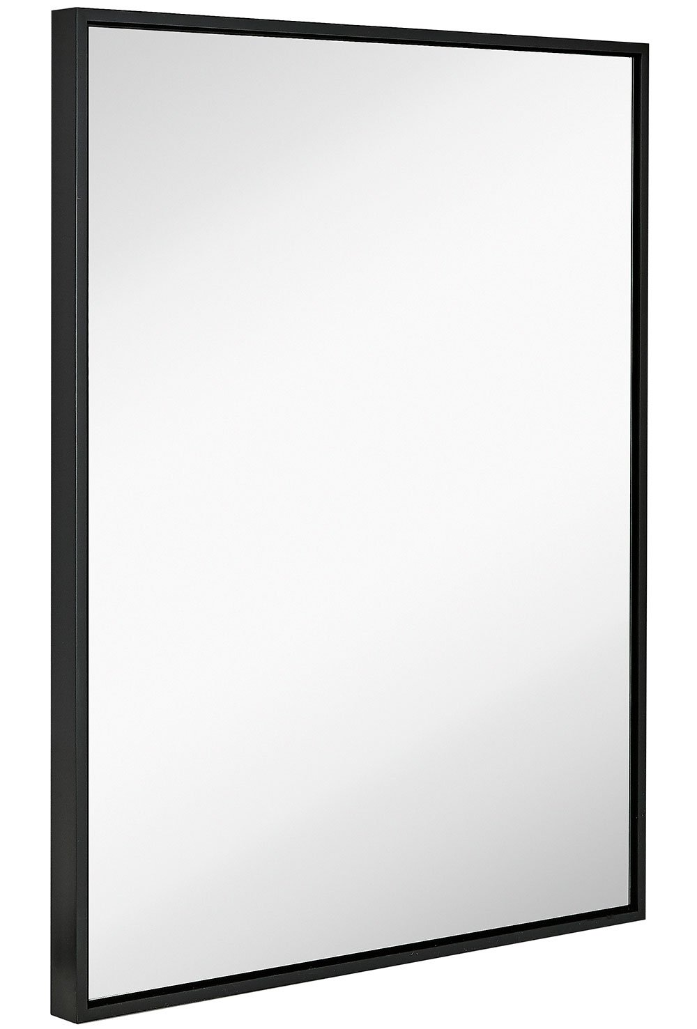 Clean Large Modern Black Frame Wall Mirror | Contemporary Premium Silver Backed Floating Glass Panel | Vanity, Bedroom, or Bathroom | Mirrored Rectangle Hangs Horizontal or Vertical