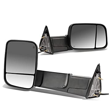 Heated Glass Signal Foldable Side Towing Mirrors For Dodge RAM Pair of Black Powered