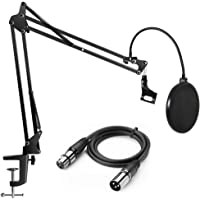 InnoGear Heavy Duty Microphone Stand with Upgraded 6.6 Feet XLR Cable Male to Female and Mic Pop Filter Suspension Boom…