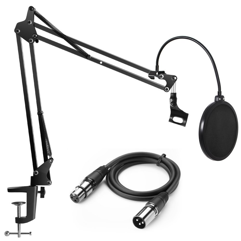 InnoGear Heavy Duty Microphone Stand with Upgraded 6.6 Feet XLR Cable Male to Female and Dual Layered Mic Pop Filter Suspension Boom Scissor Arm Stands for Condenser Microphone & Other Mic MU049