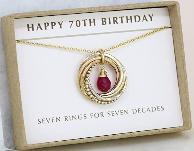 70th Birthday Gift For Her July Birthstone Jewellery