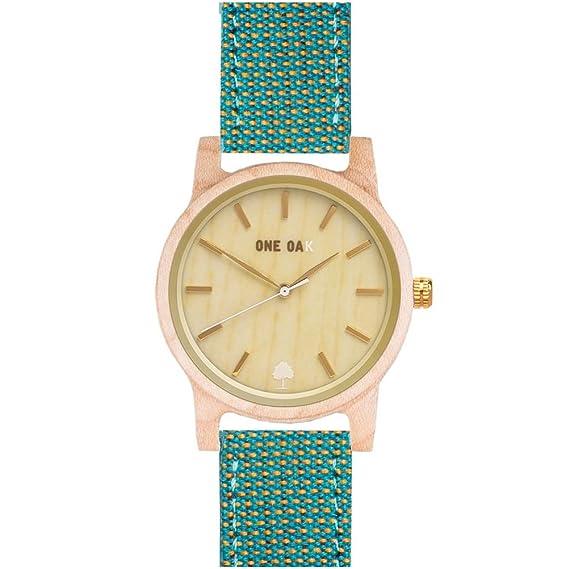 ONE OAK - Reloj de Madera Mujer con Esfera de Arce de 40 mm con Movimiento