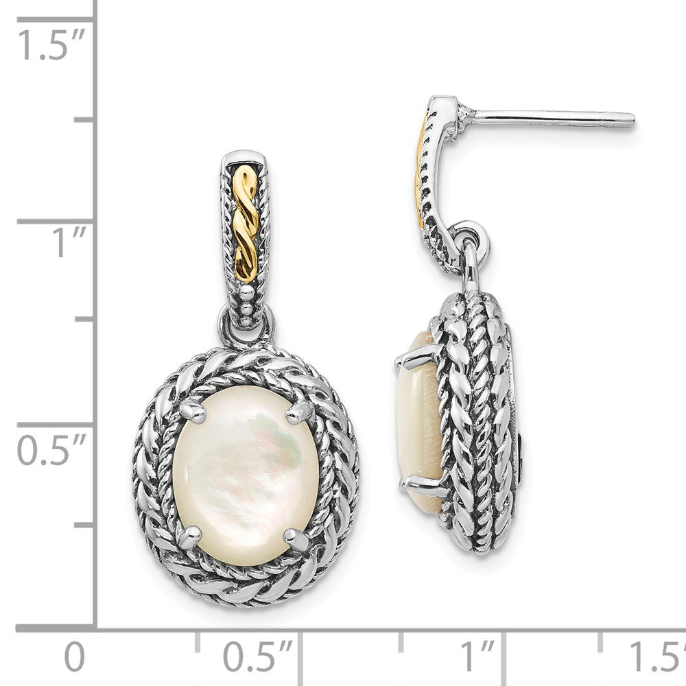 Mia Diamonds 925 Sterling Silver and 14k Yellow Gold Antiqued MOP Post Dangle Earrings