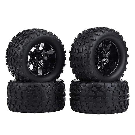 Dilwe RC Camión Coche Neumático, 4 Pcs Neumático de Rueda Neumáticos de Goma para 1