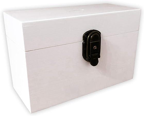 Hucha decorativa de madera en color blanco con candado y llave I Ideal como hucha para
