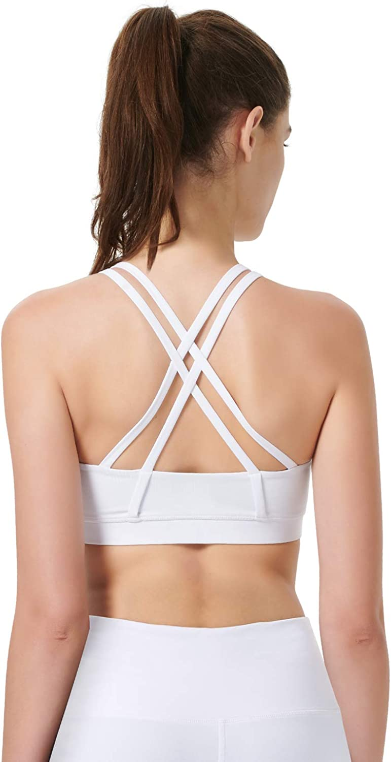 LDsports Womens Padded Yoga Sports Bra Strappy Back Activewear for Women with Removable Cups