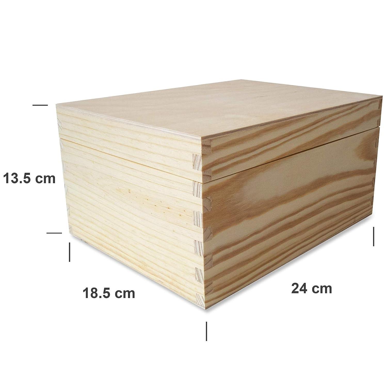 Creative Deco Caja Madera para CD DVD Carta | 3 Compartimentos | 18,5 x 24 x 13,5 cm | para Decorar con Tapa | Decoracion Almacenaje Herramiente Decoupage ...