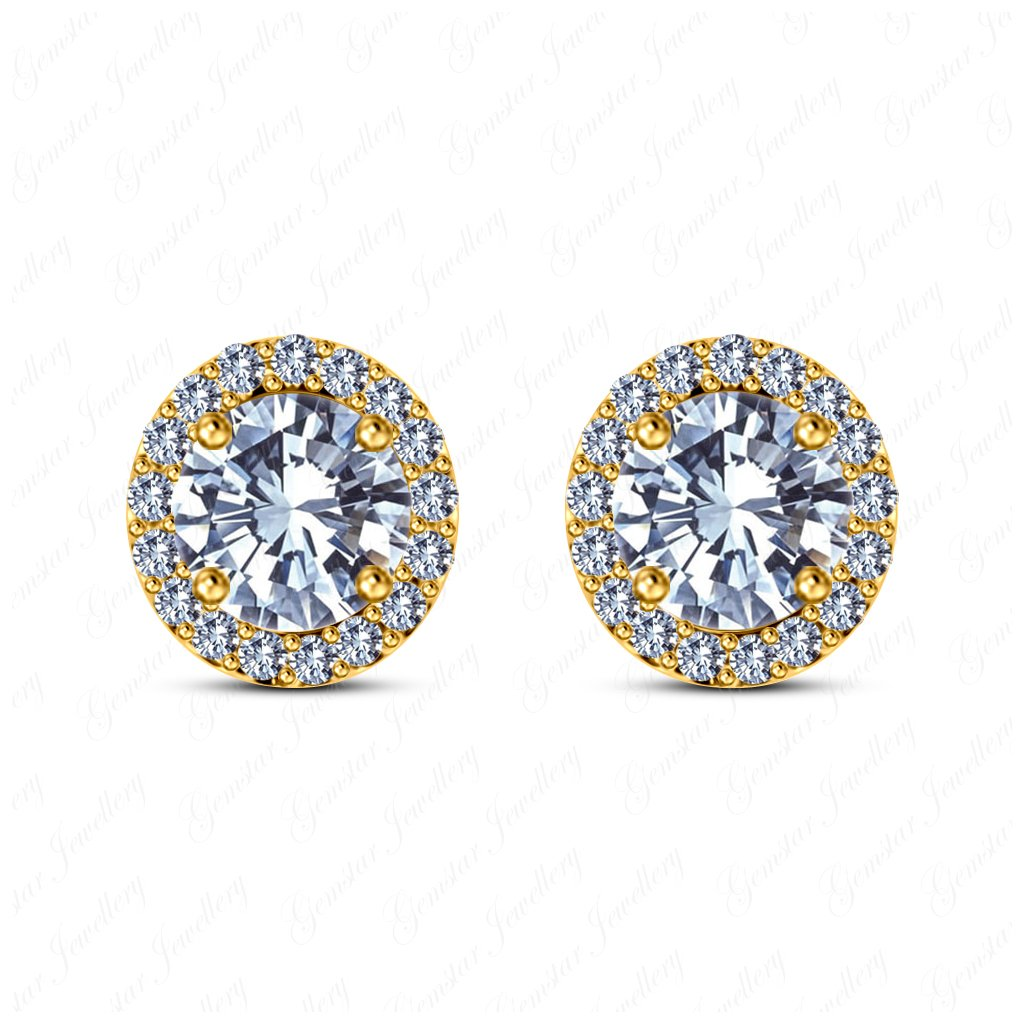Gemstar Jewellery 18K Yellow Gold Finish Brilliant Round Cut Cubic Zirconia Engagement Halo Stud Earrings