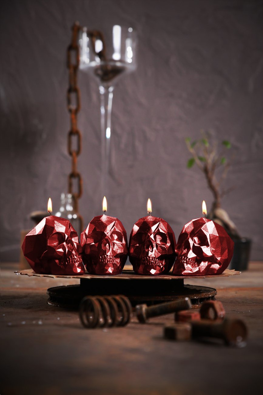 Candellana Candles 5902841368149 4 Piece Skull Small Red Metallic