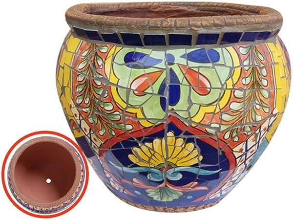 Kotee Al aire libre grande Tiesto plantador de cerámica, for mosaicos Bonsai Pot Tiesto España Ronda Maceta clásica del paisaje Jarrón Recipiente Macetas for Villa del pasillo del pasillo colorido del: Amazon.es:
