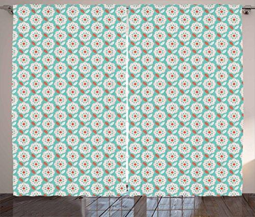 Lunarable Retro Modern Curtains, Symmetrical and Simplistic Design Scandinavian Flowers and Striped Leaf, Living Room Bedroom Window Drapes 2 Panel Set, Seafoam Vermilion 61gJkTf4e 2BL