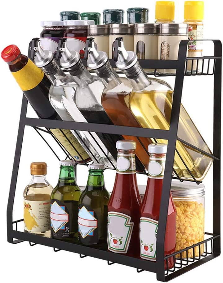 Multi-Functional Spice Rack, Three-Storey Standing Condiment Rack, Kitchen Supplies Collection And Arrangement Shelf Ground Rack, 14.2x7.5x15.7 inch, Black