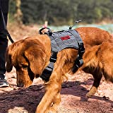OneTigris Tactical Service Dog Vest – Water-Resistant Comfortable Military Patrol K9 Dog Harness with Handle (Large, Grey)